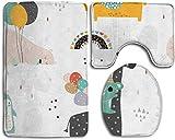 Tappetino da toeletta in stile elefante, orso, giraffa e altri animali domestici Tappetini da bagno alla moda Set tappetini antiscivolo 3 pezzi Tappetino da bagno + contorno + coperchio coperchio WC