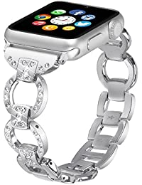AISPORTS Apple Watch Strap 42mm Stainless Steel Rhinestone Bling Glitter 8 Characters Design Smart Watch Bands Replacement Strap Wrist Band for 42mm iWatch Series 3/2/1 Sport Edition - Silver
