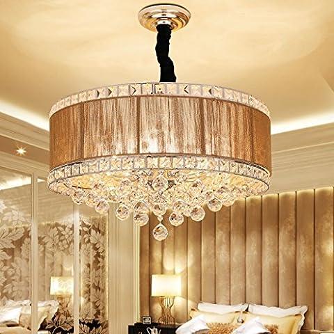 Moderne Home Kristall Anhänger Kronleuchter Stoff Lampenschirm Runde Restaurant Schlafzimmer Kronleuchter E14 Lichtquelle (nicht Tragen Lichtquelle)