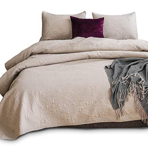 Kasentex gesteppt Überwurf Set-pre Washed-Luxury Mikrofaser weich warm Bedding-solid Farben Bedspread-royal Floral Traditionelle Design & Modernes Design Queen + 2 Shams Camel -