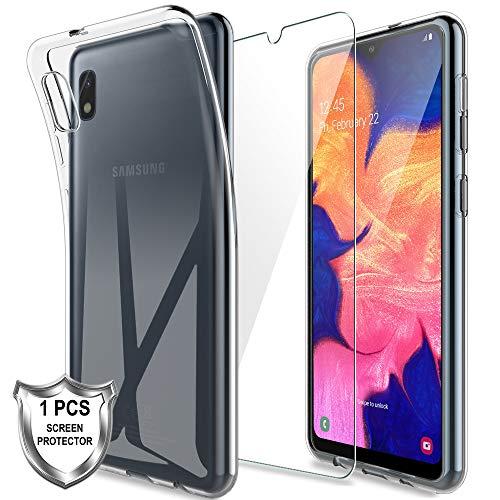 K&L LK Hülle für Samsung Galaxy A10,Schlanker Weiche Flex Silikon TPU Schutzhülle Case Cover mit Panzerglas Folie[1 Stück] für Samsung Galaxy A10 - Transparent