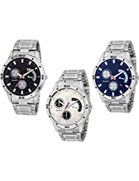 Grandeur New Steel Analogue Watches Of 3 For Boy's And Men(Aveo_BLK_WHT_Blue)