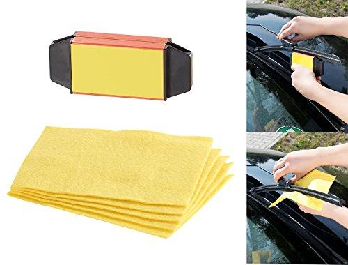 Preisvergleich Produktbild PEARL Scheibenwischerschärfer: Scheibenwischer-Riefenentferner mit 5 Vliestüchern (Scheibenwischer Nachschneider)