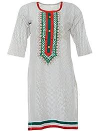 PRIYA Women's Cotton Kurta (PRIYA002--Large, Off-White, Large)
