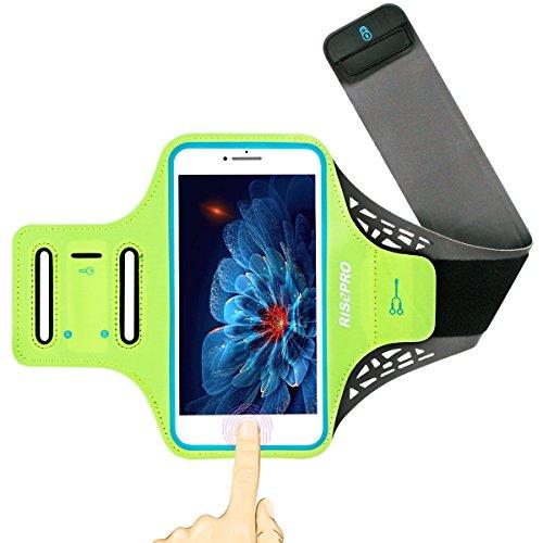 iPhone 7Plus Armband, risepro iPhone 6Plus Armband Fingerabdruckerkennung unterstützt Sporthülle für Running, Workouts, leichtes, atmungsaktives Lycra, versteckte Tasche, Schlüsselhalter, Kopfhörer Einbauöffnungen für iPhone/Galaxy Note 5(14cm) und andere Smartphones (Rad-trikot Wählen Sie)