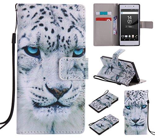 Docrax Sony Xperia Z5 Lederhülle, Handy Hülle Leder Klappbar Brieftasche Schutzhülle mit Kartenfach Magnetisch Stoßfest Handyhülle Flip Case für Sony Xperia Z5 - DOKTU44485#4