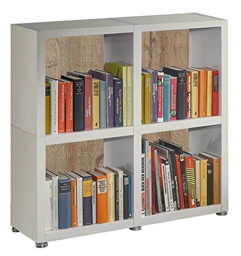 Bücherregal Raumteiler READY 22R in Weiß Seidenmatt mit Rückwand in Castle Oak
