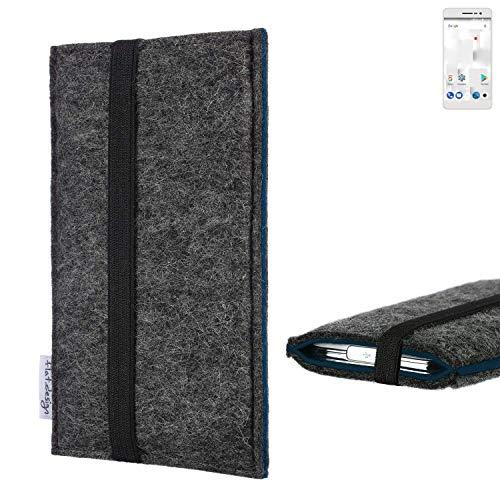 flat.design Handyhülle Lagoa für Thomson Delight TH201   Farbe: anthrazit/blau   Smartphone-Tasche aus Filz   Handy Schutzhülle  Handytasche Made in Germany