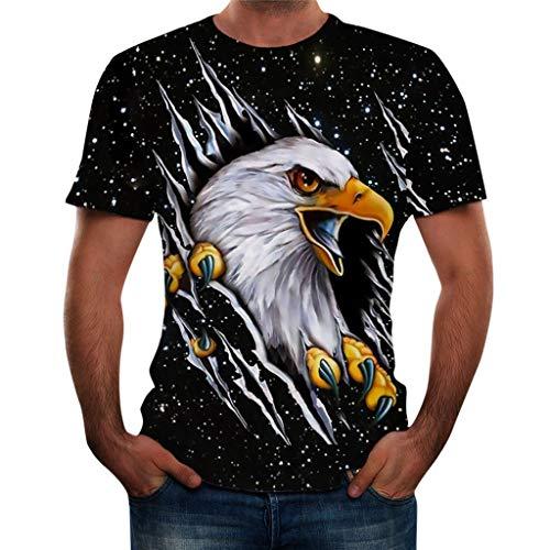 Xmiral Herren Karneval 3D Druck Tshirt Lässige Kurzarm T-Shirts Oberteile Frühling Sommer Round Hals Maskenspiel Hemden Tops(2XL,J)