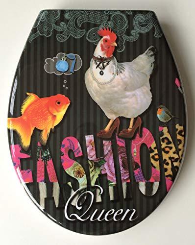 ADOB Design WC Sitz Fashion Queen Klobrille Klodeckel Toilettendeckel aus Duroplast, Absenkautomatik, Softclose, zur Reinigung abnehmbar, (Poppige Schuhe)
