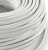 Cavo elettrico in tessuto tondo rotondo stile vintage rivestito 10 metri colorato Bianco H03VV-F sezione 3x0,75 per lampadari, lampade, abat jour, design. Made in Italy