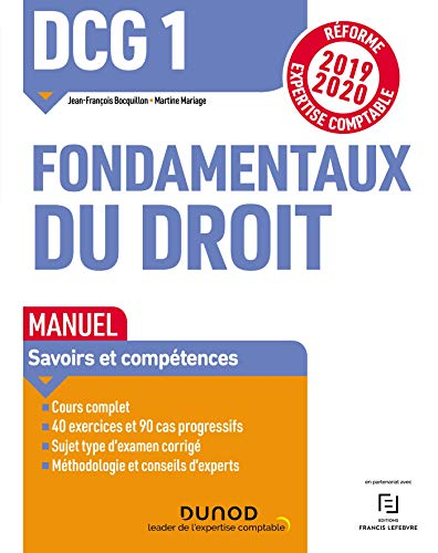 DCG 1 Fondamentaux du droit - Manuel - Réforme 2019/2020: Réforme Expertise comptable 2019-2020 par  Jean-François Bocquillon, Martine Mariage
