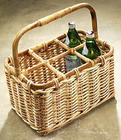 Flaschenträger 6 - teilig Rattan -