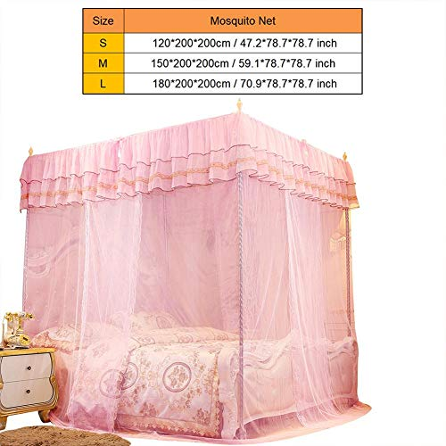 Wifehelper Moskitonetz Luxus Prinzessin DREI Seitenöffnungen Pfosten Bett Vorhang Baldachin Netting Bettwäsche Zubehör Damen Schlafzimmer Dekoration(Small) (Schlafzimmer Netting)