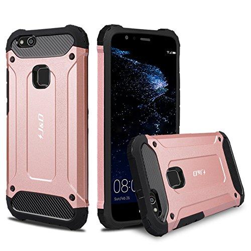 P10 Lite Funda, J&D [Armadura Delgada] [Doble Capa] [Protección Pesada] Híbrida Resistente Funda Protectora y Robusta para Huawei P10 Lite - Rose Oro