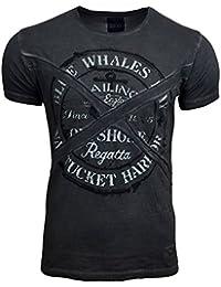 RUSTY NEAL Herren Kurzarm Poloshirt Sommer Print Rundhals Freizeit T-Shirt 6728