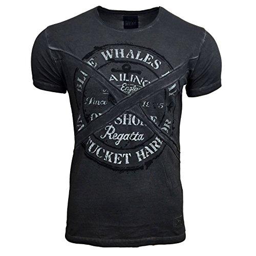RUSTY NEAL Herren Kurzarm Poloshirt Sommer Print Rundhals Freizeit T-Shirt 6728 Anthrazit