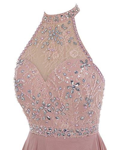 Bbonlinedress Robe de cérémonie Robe de soirée longue en mousseline dos nu emperlée Blush