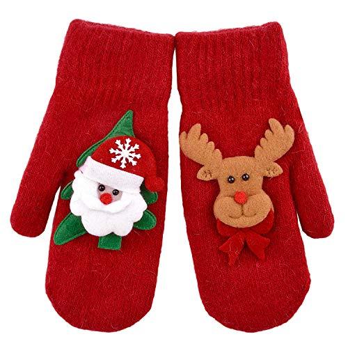 Zoylink 1 Paar Weihnachts Fäustlinge Winter Warme Handschuhe 3D Cartoon Rentier Santa Handschuhe für Frauen Mädchen