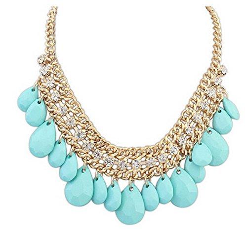 Mme Européenne Et Les Dames Américaines Diamant Perles Sauvages Collier En Alliage Skyblue