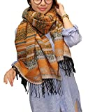SMITHROAD Schal Damen Groß Winter Herbst Gestreift mit Fransen Boho Look Muster Orange