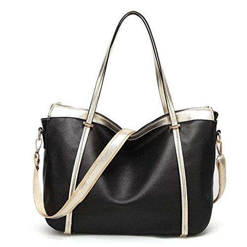 Naerde europäischer Stil Fashion New Messenger Large Bag Ladies Handtasche Frauen Tasche Handtaschen für Frauen schwarz (Large Zip-handtasche Top)