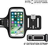 PORTHOLIC Universal Sweat Resistant Sports Armband For iPhone 6/6s/7, Samsung S7/S6/S5,Android With Screen Up to 5.1 inches -Extension Strap-With Key&Cards Holder, Cable Slot For Running,Jogging,Cycling(BLACK)