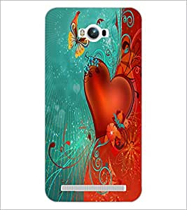 PrintDhaba Butterfly and Heart D-2304 Back Case Cover for ASUS ZENFONE MAX ZC550KL (Multi-Coloured)