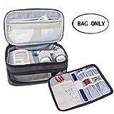 Luxja Insulin Diabetiker Tasche, Doppelschicht Insulin Tasche für Blutzuckermessgeräte und Diabetiker Zubehör (Nur Tasche), Schwarz