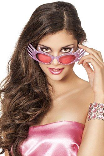 Damen-Brille Edna Miss Extravagant Diva Show Glamour Glitzer Spaß-Brille Scherz-Artikel Hochwertiges Kostüm-Zubehör Party-Accessoire Karneval Fasching Fastnacht Mottopartys Einheitsgröße Rosa
