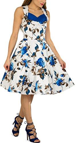 BlackButterfly Robe Années 50 Classique Mercy 'Aura' Blanc Bleu