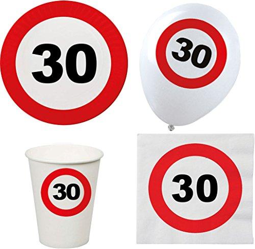 Karneval-Klamotten Partydeko 30 Geburtstag Party Geschirr Teller Becher Servietten 8 Personen und 30. Luftballons Party Set XL 44 Teile Verkehrsschild (Geburtstag Servietten 30. Teller Und)