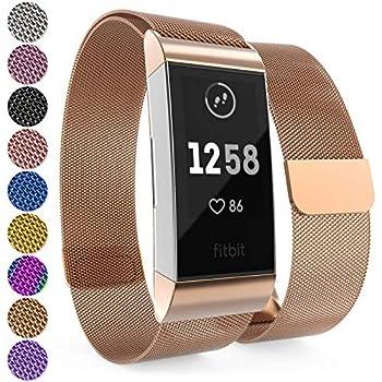Mornex f/ür Fitbit Charge 3 Armband,Echte Leder 3SE Armb/änder, Unisex Fitness-Zubeh/ör Ersatzband mit Metall Konnektoren 5,5-8,2