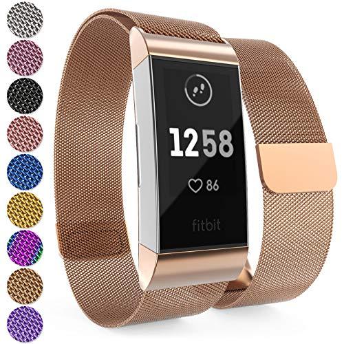 Yousave Accessories Fitbit Charge 3 Armband, Mesh Armband, Edelstahl Sport Ersatzarmband für Fitbit Charge 3 Fitness Tracker, Fitbit Charge3 Armbänder - Roségold