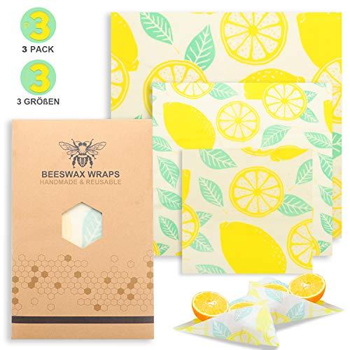 SIPU Bienenwachstücher Beeswax Food Wraps aus Bio - Bienenwachs 3er Set aus Baumwolle Natürliche Lebensmittelverpackung für Brot Obst Gemüse Käse wiederverwendbar waschbar