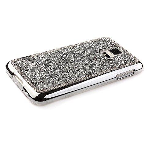 Coque Housse Etui pour iPhone 5s, iPhone 5s Plastique Strass Coque Etui, iPhone 5 Plastic Case Hard Cover, iPhone 5s / 5 Coque Rigide avec Strass et Diamants,Ukayfe Protecteur Dur Etui Housse de Prote Argent