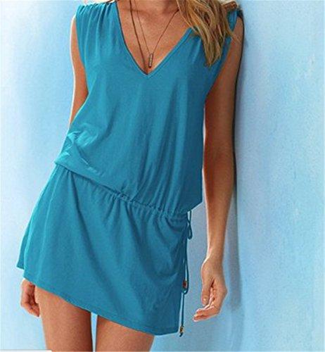 EMIN Damen tiefem V-Ausschnitt Öffnen Rückseite Strand Bikini Vertuschung Kleid Strand Rock Blau1