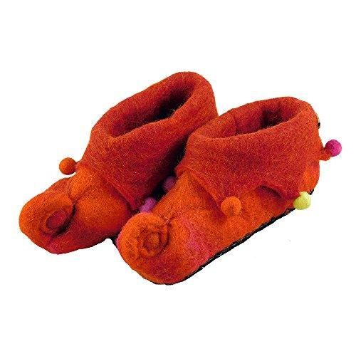 musimon Hausschuhe Kinder Filz 100% Schafwolle rot Rot
