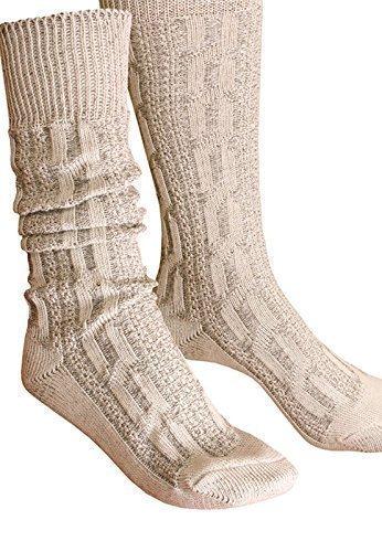 by Engelleiter Trachtensocken Kniebundstrümpfe Socken Zopfmuster beige Strümpfe (42)