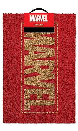 Marvel logo-Zerbino, dimensioni: 60x 40cm, materiale fibra di cocco/pvc