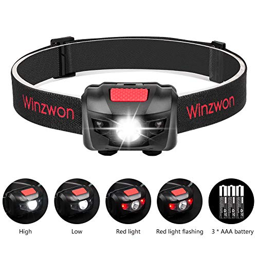 Winzwon LED Stirnlampe LED Kopflampe LED Stirnlampen LED Kopflampen Kopfleuchten LED Headlight 4 Helligkeiten zu wahlen inklusive 3 AAA Batterie
