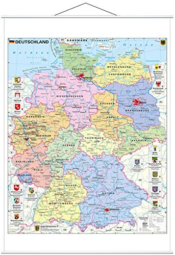 Deutschland politisch mit Wappen - Wandkarte mit Metallbeleistung