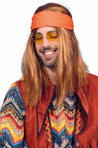 Kostüm Hippie Blumenkind Perücke Braun - Wilbers Herren Perücke Hippie zum Blumenkind Karneval Fasching braun