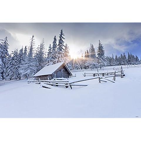 7x 5ft atardecer nieve bosques cabinas fotografía telón de fondo fondo de fotos de invierno