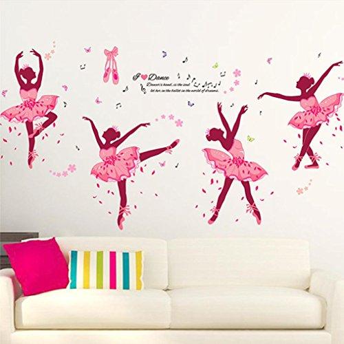 OHQ Pegatina De Pared Chica Ballet Rosa Sala Estar