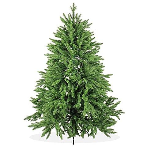 Künstlicher Weihnachtsbaum 150cm DeLuxe in Premium Spritzguss Qualität, grüne Nordmanntanne, Tannenbaum mit PE Kunststoff Nadeln, Nordmannstanne