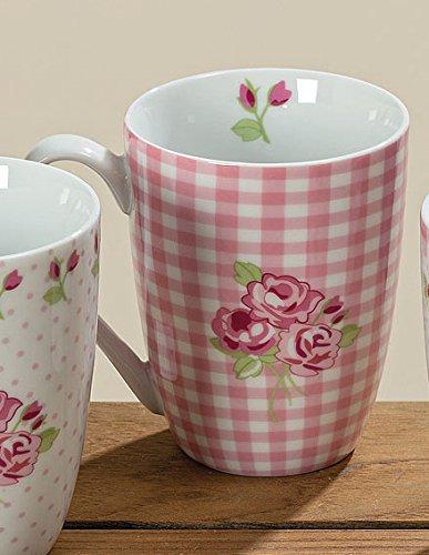 Bloominghome Tasse mit Henkel Porzellan Rose kariert 330ml Kaffeetasse