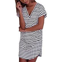 feiXIANG Damen Mode Kleid Stripe Short Ärmel Shirtkleid gestreiften T-Shirt  Kleid V-Ausschnitt 543f3abbbc