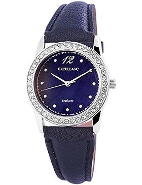Excellanc Damen Analog Armbanduhr mit Quarzwerk 195023000215 und Metallgehäuse mit Kunstlederarmband in Blau und...