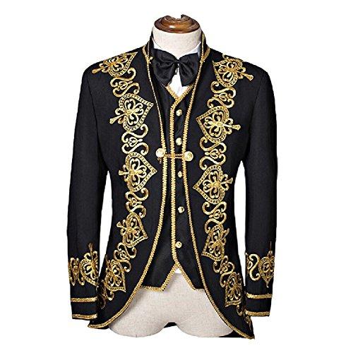 arze Männer Anzüge Slim Fit Gold gestickte männliche Singer Mens Anzug Bräutigam Hochzeit Tuxedos Jacke + Hosen (M) (Gold Tuxedo-jacke)